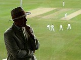 Geoffrey Boycott looks on as Yorkshire face Northamptonshire in the LV County Championship on May 30, 2012