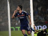 Lyon's French midfielder Clement Grenier reacts after scoring during the UEFA Europa League group I football match Olympique Lyonnais (OL) vs HNK Rijeka on October 24, 2013