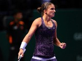 Sara Errani celebrates her win over Jelena Jankovic during their WTA Championships match on October 25, 2013