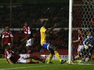 Clayton Donaldson of Brentford scories his sides second goal during the Sky Bet League One match between Bristol City and Brentford at Ashton Gate on October 22, 2013