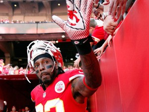 Wide receiver Dwayne Bowe #82 of the Kansas City Chiefs high-fives fans prior to the game against the Houston Texans at Arrowhead Stadium on October 20, 2013