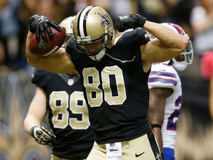 Jimmy Graham #80 of the New Orleans Saints celebrates after scoring a touchdown against the Buffalo Bills at Mercedes-Benz Superdome on October 27, 2013