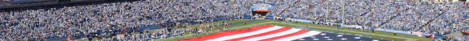 General view of the American flag on the field before the NFL season opener between the Tennessee Titans and Oakland Raiders at LP Field on September 12, 2010