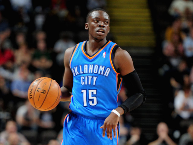 Reggie Jackson of the Oklahoma City Thunder in action during the NBA pre season match between Oklahoma City Thunder and Philadelphia 76ers at Phones 4 U Arena on October 8, 2013