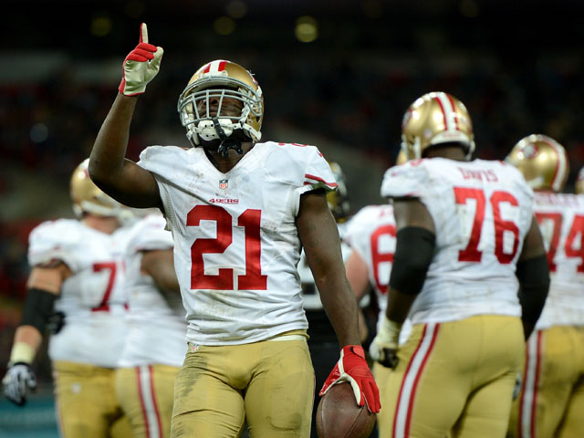 Frank Gore of the San Francisco 49ers celebrates after scoring a touchdown during the NFL International Series game between San Francisco 49ers and Jacksonville Jaguars at Wembley Stadium on October 27, 2013