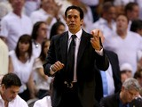 Head coach Erik Spoelstra of the Miami Heat calls out in the third quarter while taking on the San Antonio Spurs during Game Seven of the 2013 NBA Finals at AmericanAirlines Arena on June 20, 2013