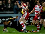 Nathan Hughes of London Wasps scores a try during the Aviva Premiership match between Gloucester and London Wasps at Kingsholm Stadium on November 2, 2013