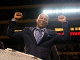 Senior Vice President and General Manager Jerry Reese of the New York Giants celebrates after the Giants won 21-17 against the New England Patriots during Super Bowl XLVI at Lucas Oil Stadium on February 5, 2012