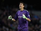 Costel Pantilimon of Manchester City celebrates during the Barclays Premier League match between Manchester City and Norwich City at Etihad Stadium on November 2, 2013