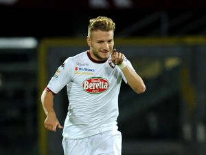 Torino's Ciro Immobile celebrates after scoring the opening goal against AS Livorno Calcio on October 30, 2013