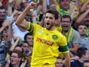 Nantes' Serbian forward Filip Djordjevic celebrates after scoring a goal during a French L1 football match Nantes against Nice on September 25, 2013