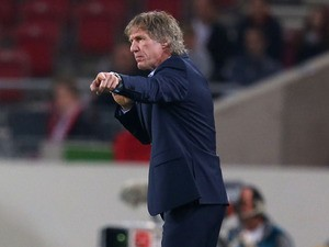 Gertjan Verbeek, head coach of Nuernberg gestures during the Bundesliga match between VfB Stuttgart and 1.FC Nuernberg at Mercedes-Benz Arena on October 25, 2013