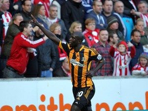 Hull City's Yannick Sagbo celebrates his opening goal during the Barclays Premier League match between Hull City and Sunderland at KC Stadium on November 02, 2013