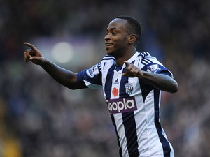 Saido Berahino of West Bromwich Albion celebrates scoring the opening goal during the Barclays Premier League match between West Bromwich Albion and Crystal Palace at The Hawthorns on November 2, 2013