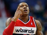 Bradley Beal #3 of the Washington Wizards celebrates after scoring against the Chicago Bulls during the first half at Verizon Center on April 2, 2013