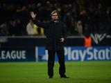 Dortmund's head coach Jürgen Klopp reacts after the UEFA Champions League group F football match Borussia Dortmund vs Arsenal London in Dortmund, western Germany on November 6, 2013