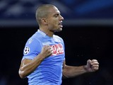 Napoli's Swiss midfielder Gokhan Inler celebrates after scoring a goal during an UEFA Champions League group F football match between SSC Napoli and Olympique de Marseille on November 6, 2013