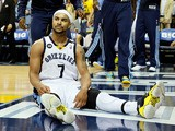 Jerryd Bayless #7 of the Memphis Grizzlies reacts on the floor at the end of the third quarter against the San Antonio Spurs during Game Four of the Western Conference Finals of the 2013 NBA Playoffs at the FedExForum on May 27, 2013