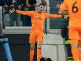 Cristiano Ronaldo of Real Madrid celebrates scoring during the UEFA Champions League Group B match between Juventus and Real Madrid at Juventus Arena on November 5, 2013