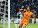 Real Madrid's Portuguese forward Cristiano Ronaldo celebrates scoring a goal during the UEFA Champions League Group B football match Juventus vs Real Madrid at the Juventus stadium in Turin on November 5, 2013