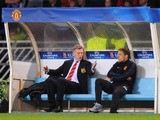 Manchester United manager David Moyes reacts with Phil Neville to the sending off of Marouane Fellainiduring the UEFA Champions League Group A match between Real Sociedad and Manchester United at Estadio Anoeta on November 5, 2013