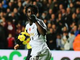 Swansea's Wilfried Bony celebrates after scoring his team's opening goal against Stoke on November 10, 2013