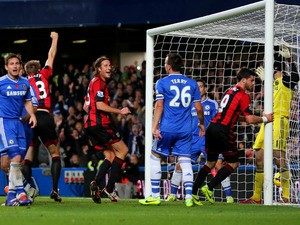 Shane Long #9 of West Brom scores to level the scores at 1-1- during the Barclays Premier League match between Chelsea and West Bromwich Albion at Stamford Bridge on November 9, 2013