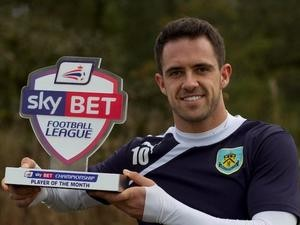 Burnley's Danny Ings with his Player of the Month award for October on November 7, 2013