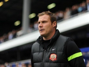 Barnsley manager David Flitcroft looks on from the sidelines on October 5, 2013