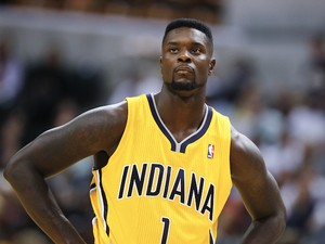 Lance Stephenson of the Indiana Pacers watches a free throw against the Chicago Bulls during action on October 5, 2013