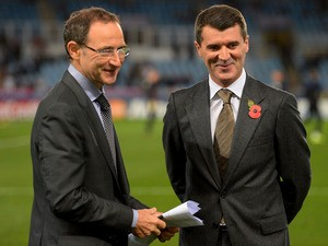 New announced Republic of Ireland manager Martin O'Neill and his assistant Roy Keane speak during the UEFA Champions League Group A match between Real Sociedad de Futbol and Manchester United at Estadio Anoeta on November 5, 2013