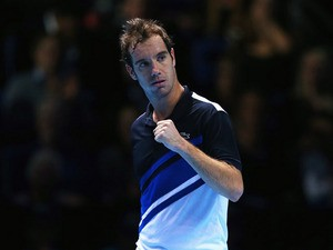 Richard Gasquet of France celebrates winning the first set in his men's singles match against Juan Martin Del Potro of Argentina during day one of the Barclays ATP World Tour Finals at O2 Arena on November 4, 2013