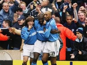 Shaun Goater celebrates scoring against Manchester United on November 09, 2002.