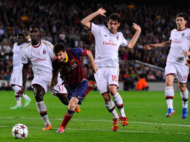 Lionel Messi of FC Barcelona duels for the ball with Andrea Poli and Cristian Zapata of AC Milan during the UEFA Champions League Group H match Between FC Barcelona and AC Milan at Camp Nou on November 6, 2013