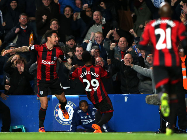 Stephane Sessegnon #29 of West Brom after scoring his team's second goal during the Barclays Premier League match between Chelsea and West Bromwich Albion at Stamford Bridge on November 9, 2013