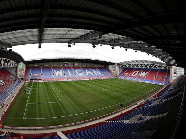 A general shot of Wigan Athletic's DW Stadium on March 19, 2011