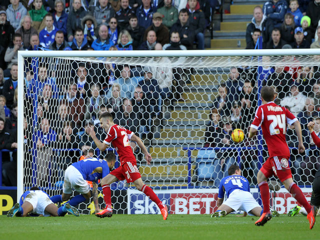 Nottingham Forest's Jamie Paterson celebrates Simon Cox's goal during the Sky Bet Championship match against Leicester City on November 9, 2013