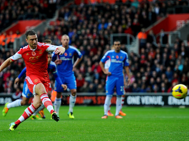 Rickie Lambert of Southampton scores their secondg goal from a penalty kick during the Barclays Premier League match between Southampton and Hull City on November 9, 2013