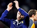 Kris Boyd of Scotland applauds the fans at the end of the International Friendly match between Scotland and the Czech Republic at Hampden Park on March 3, 2010