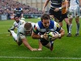 Bath's Martin Roberts scores his team's third try against Exeter Chiefs during their LV=Cup match on November 17, 2013