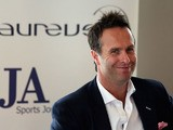Michael Vaughan, former England cricket captain, talks to the assembled media as he attends an SJA Brunch sponsored by Laureus on July 4, 2013