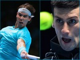A collage of Rafael Nadal and Novak Djokovic in action during the ATP World Tour Finals