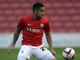Reuben Noble-Lazarus of Barnsley plays the ball during a pre-season friendly against Club Brugge at Oakwell Stadium on July 12, 2013