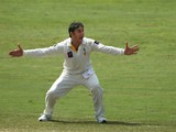 Saeed Ajmal of Pakistan celebrates taking the wicket of Vernon Philander of South Africa during the third day of the second Test cricket match between Pakistan and South Africa in Dubai on October 25, 2013