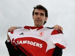 New Middlesbrough manager Aitor Karanka poses with the club shirt as he is unveiled at Rockliffe Park on November 13, 2013
