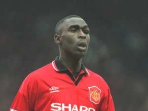 Andy Cole in action for Manchester United against Aston Villa on February 04, 1995.