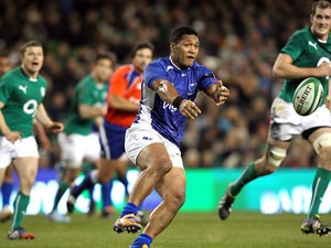 Samoa's George Pisi in action action against Ireland during their International test match on November 9, 2013