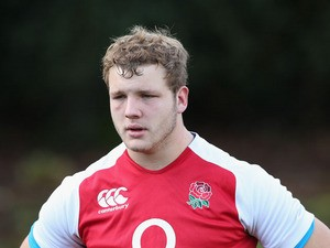 Joe Launchbury looks on during the England training session at Pennyhill Park on November 12, 2013