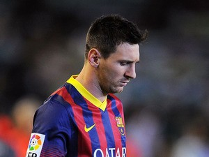 Lionel Messi of FC Barcelona takes to the field for the La Liga match between Real Betis and FC Barcelona at Estadio Benito Villamarin on November 10, 2013