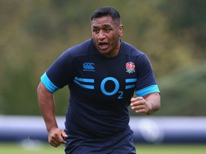 Mako Vunipola looks on during the England training session at Pennyhill Park on October 31, 2013